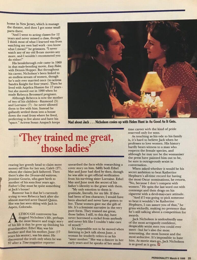 Jack Nicholson interview