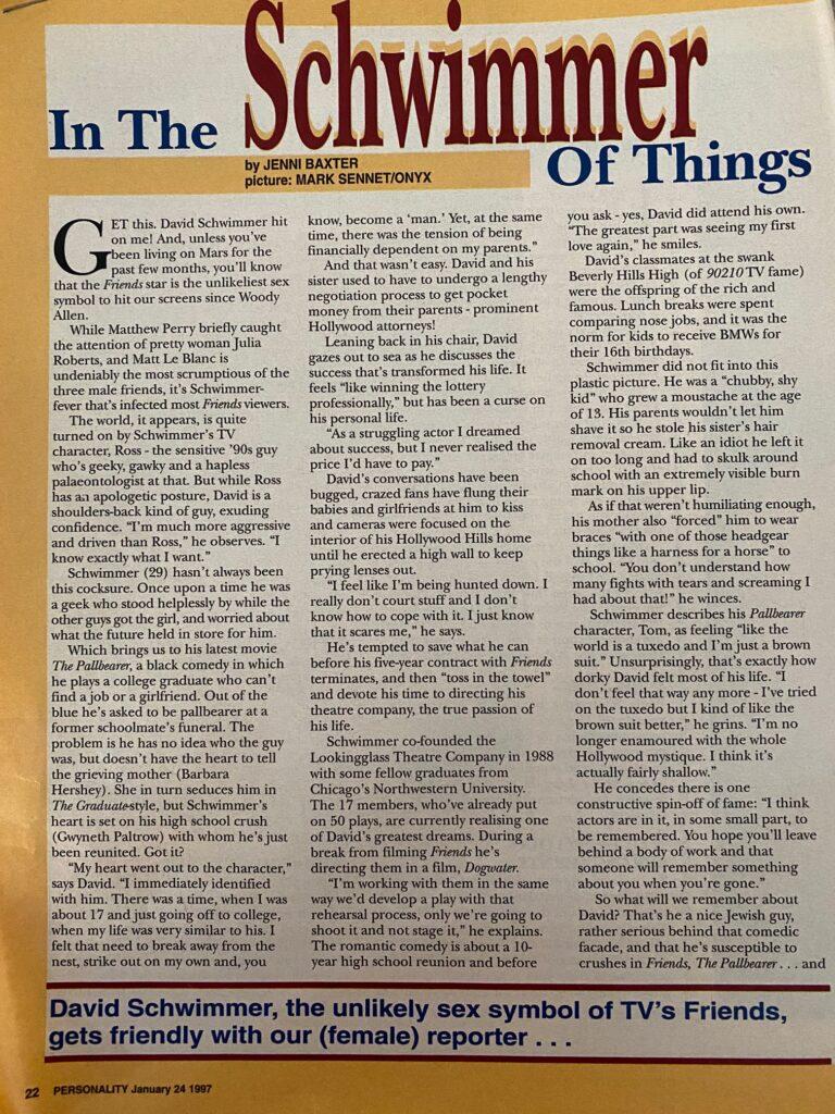 David Schwimmer Interview Page 1