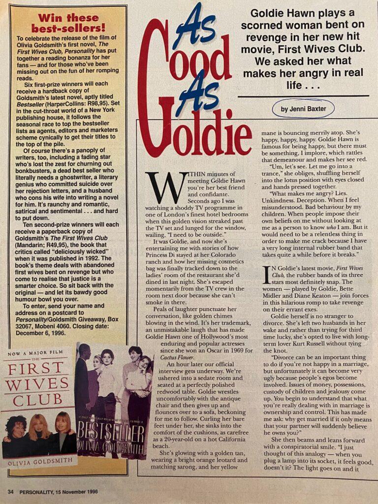Goldie Hawn Interview Page 1