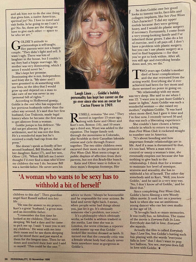 Goldie Hawn Interview Page 3