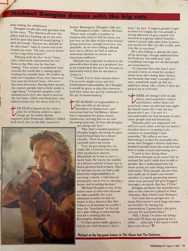 Michael Douglas Interview Page