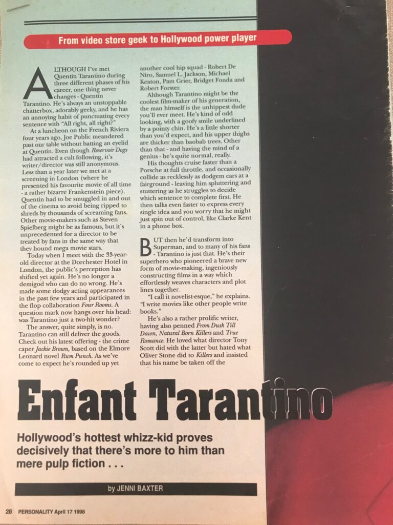 Quentin Tarantino Interview Page 1