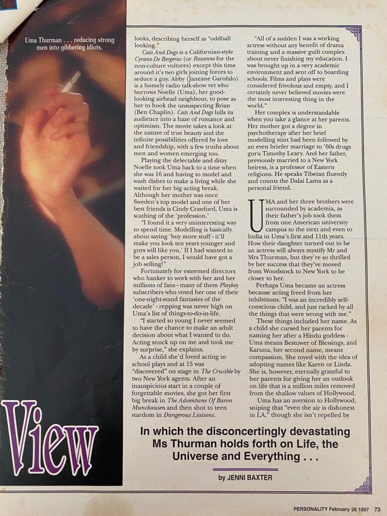 Uma Thurman Interview Page 2